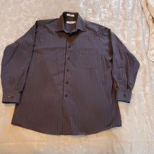 Grey striped Calvin Klein button down shirt